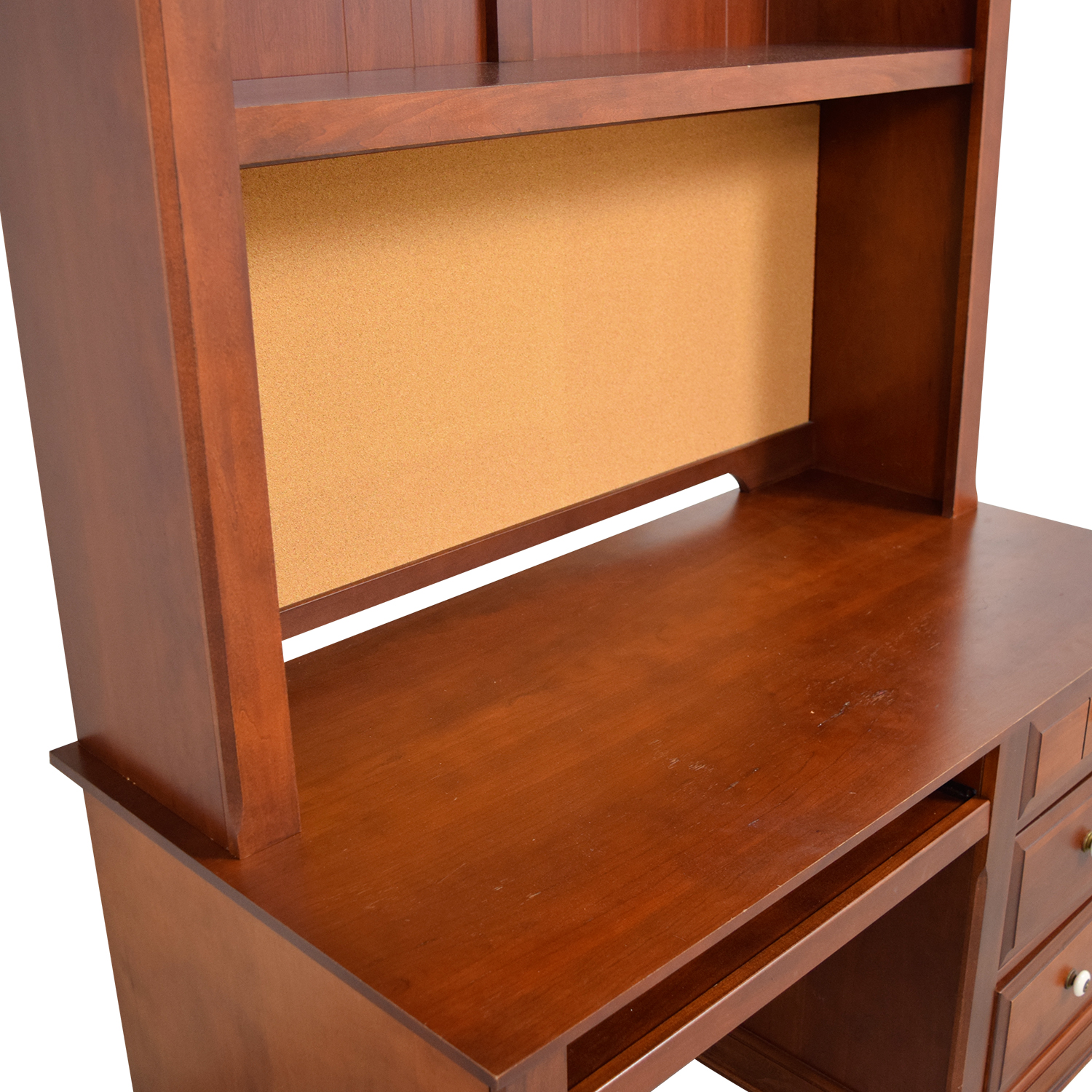 shop Three-Drawer Wood Desk with Curved Hutch and Cork Back  Home Office Desks
