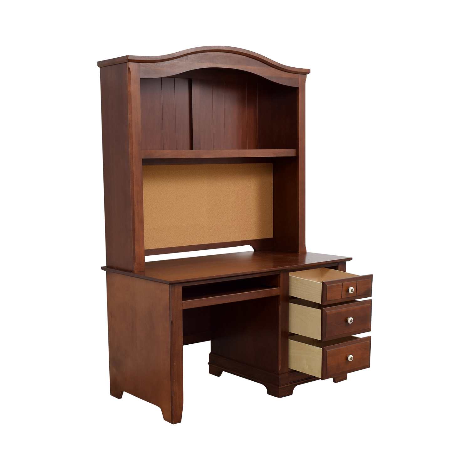 90% Off  Threedrawer Wood Desk With Curved Hutch And. Narrow End Table. Table Top Gas Grill. Wayne Help Desk. Straight Office Desk. Small Reception Desk Ideas. George Costanza Desk Bed. Chess Table. Couch Tables