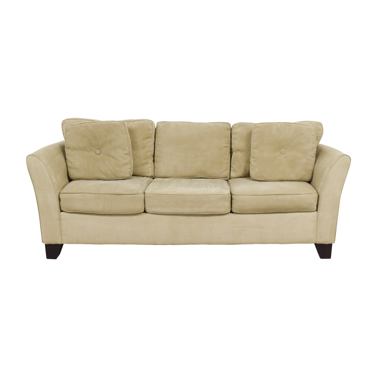 Macy's Macy's Tan Microfiber Three-Cushion Couch nj