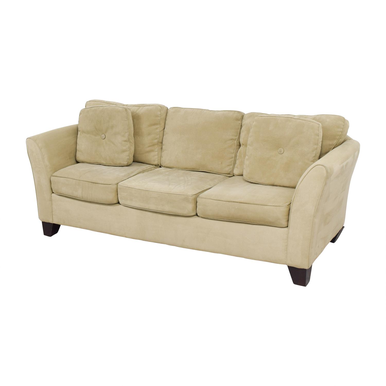 65 Off Macy S Macy S Tan Microfiber Three Cushion Couch
