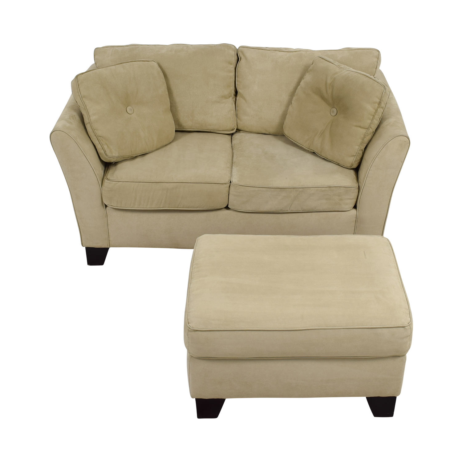 shop Macy's Tan Loveseat with Ottoman Macy's Sofas