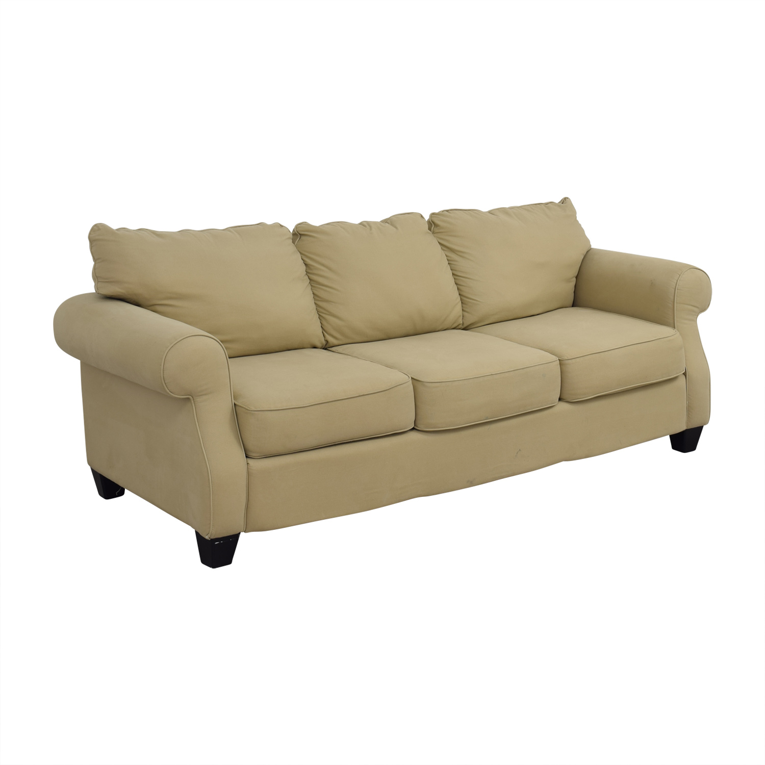 shop Beige Three-Cushion Curved Arm Sofa Classic Sofas