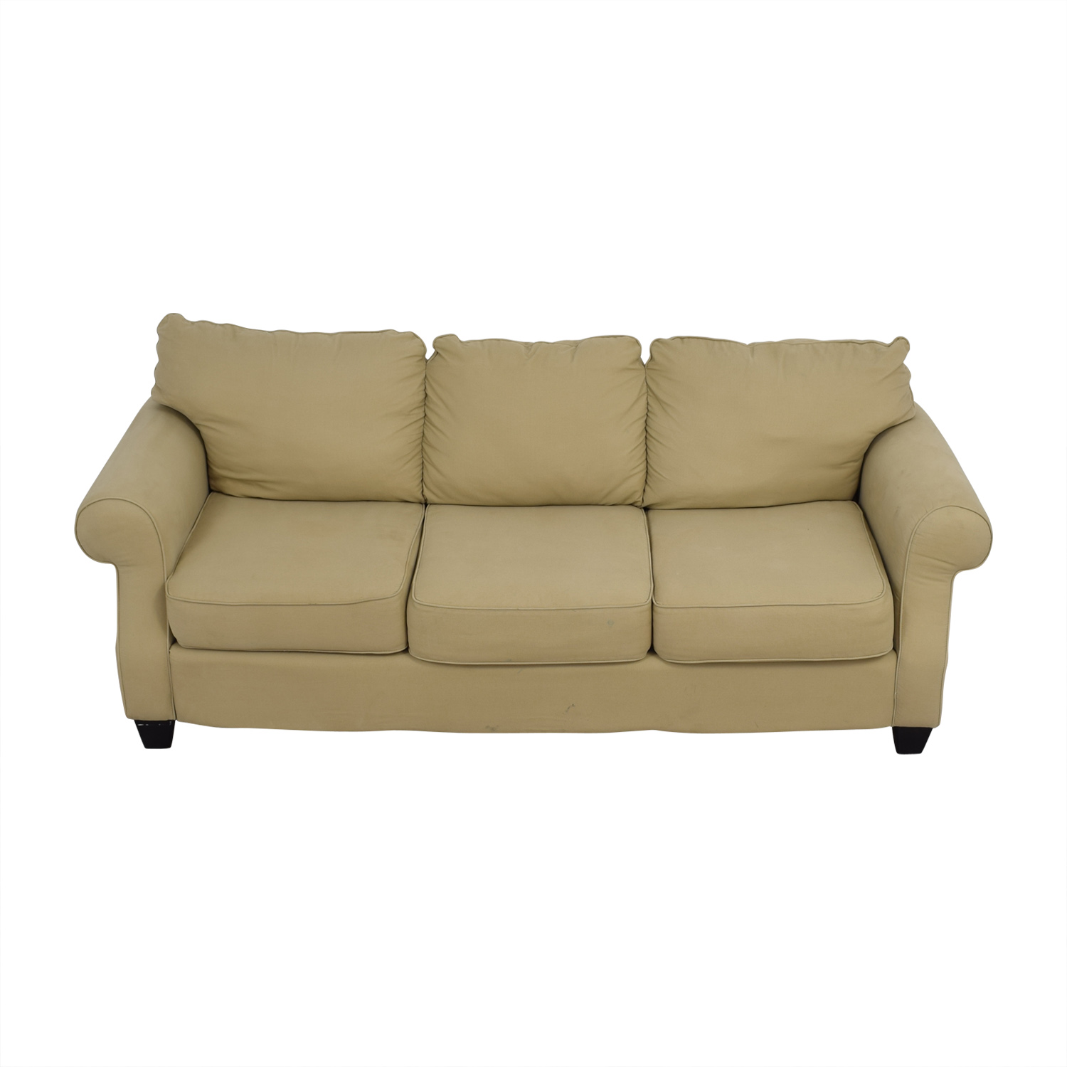 buy Beige Three-Cushion Curved Arm Sofa