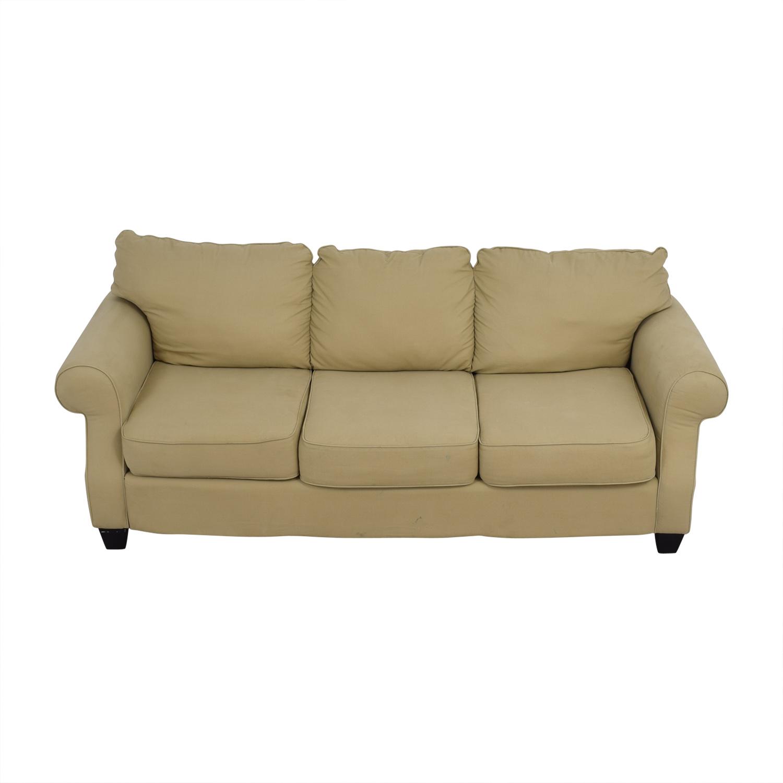 buy Beige Three-Cushion Curved Arm Sofa