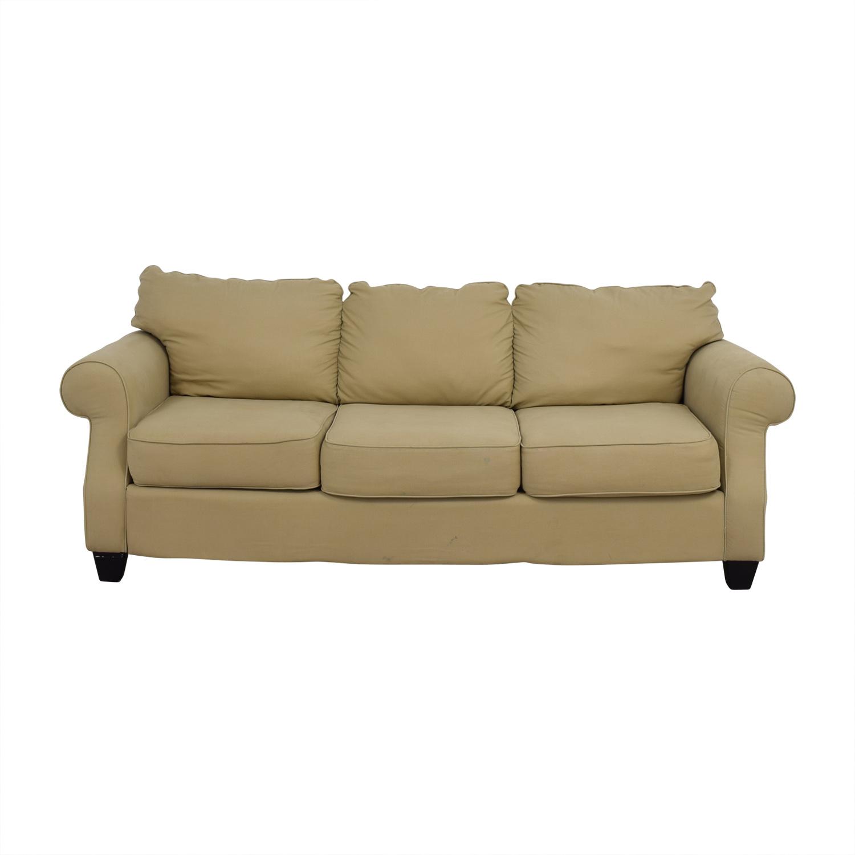 Beige Three-Cushion Curved Arm Sofa on sale