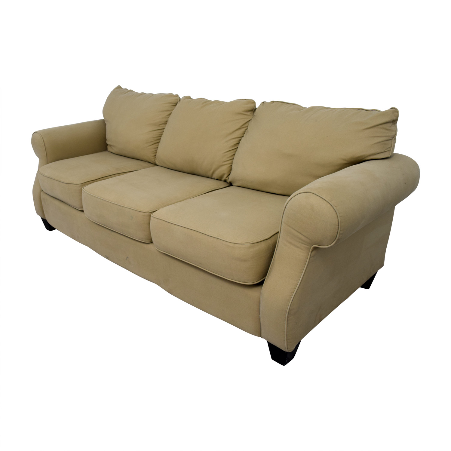 shop Beige Three-Cushion Curved Arm Sofa