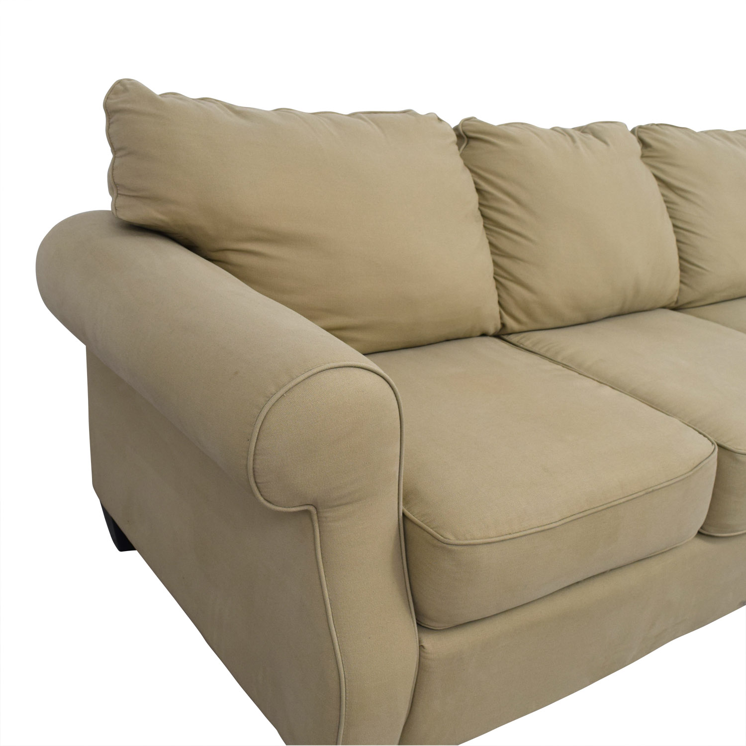 Beige Three-Cushion Curved Arm Sofa Sofas