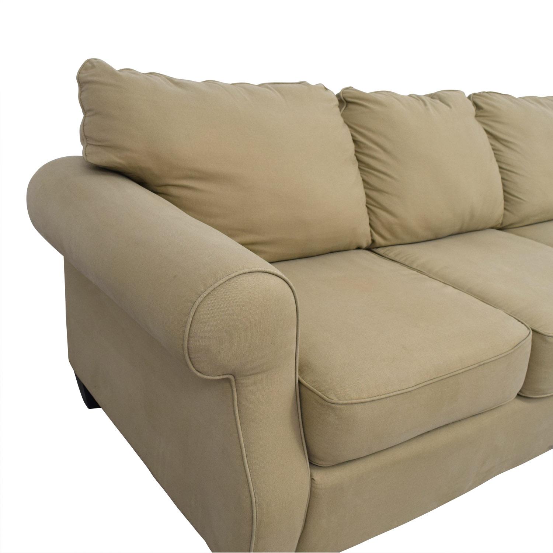 Beige Three-Cushion Curved Arm Sofa Sofas