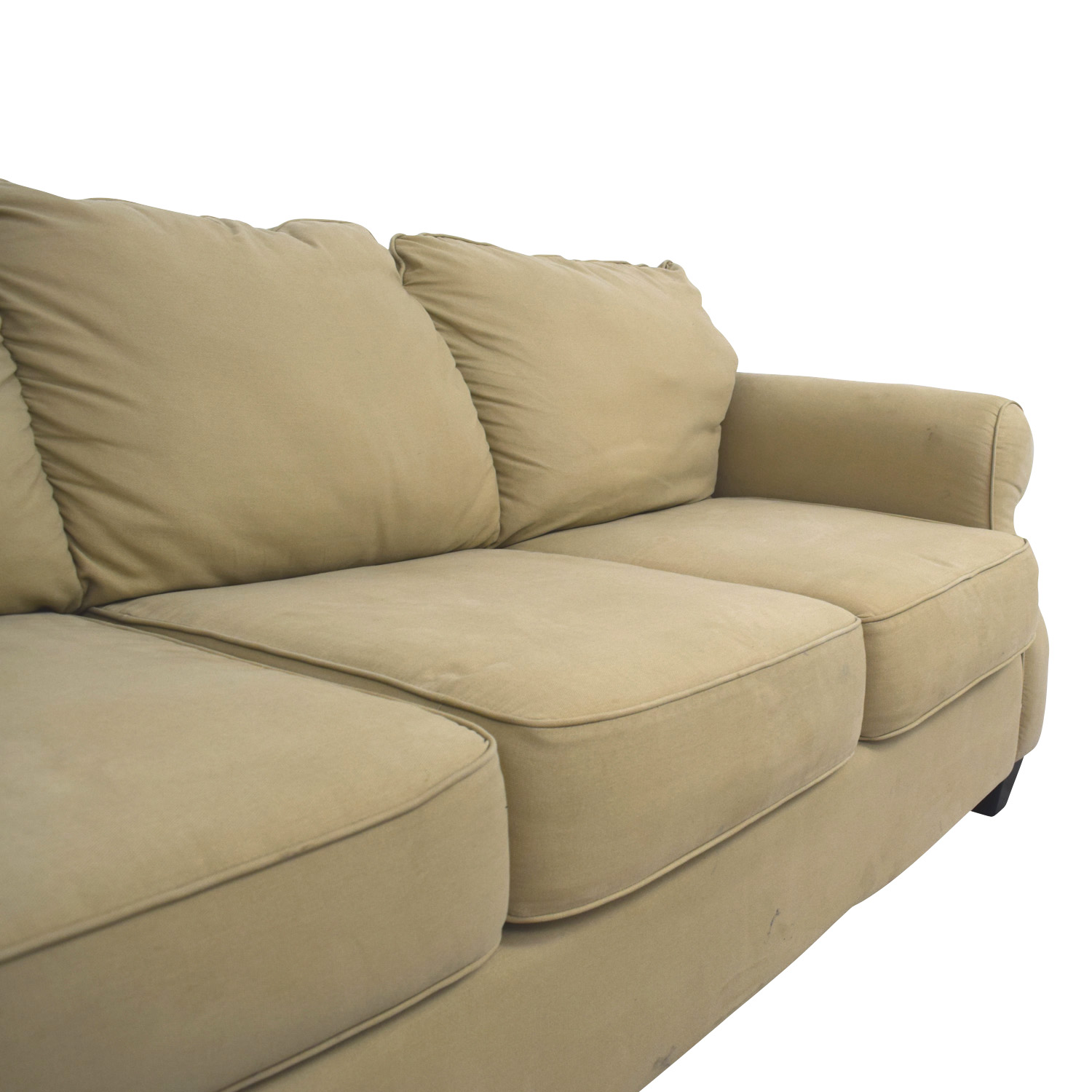 Beige Three-Cushion Curved Arm Sofa dimensions