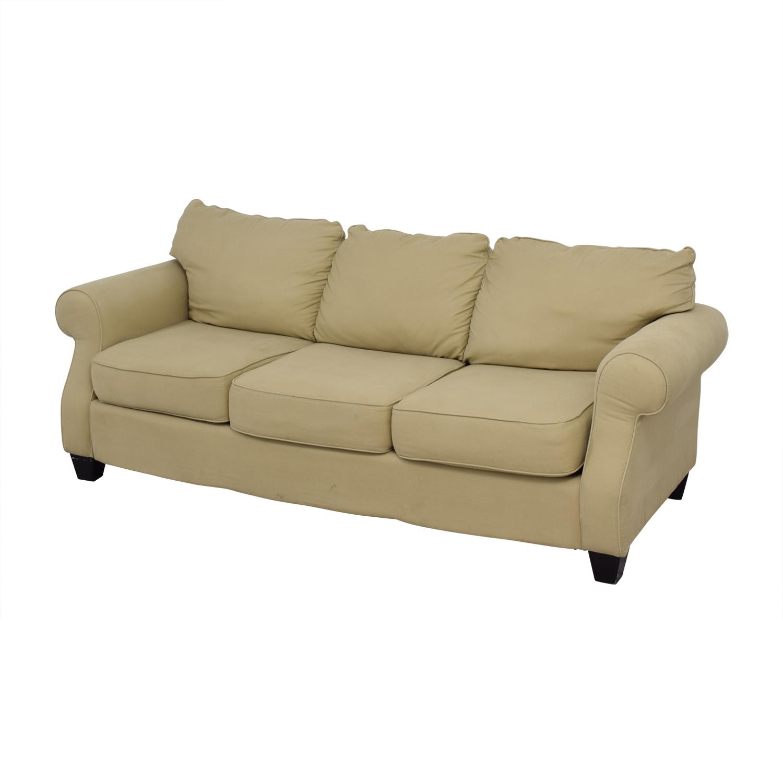 Beige Three-Cushion Curved Arm Sofa price