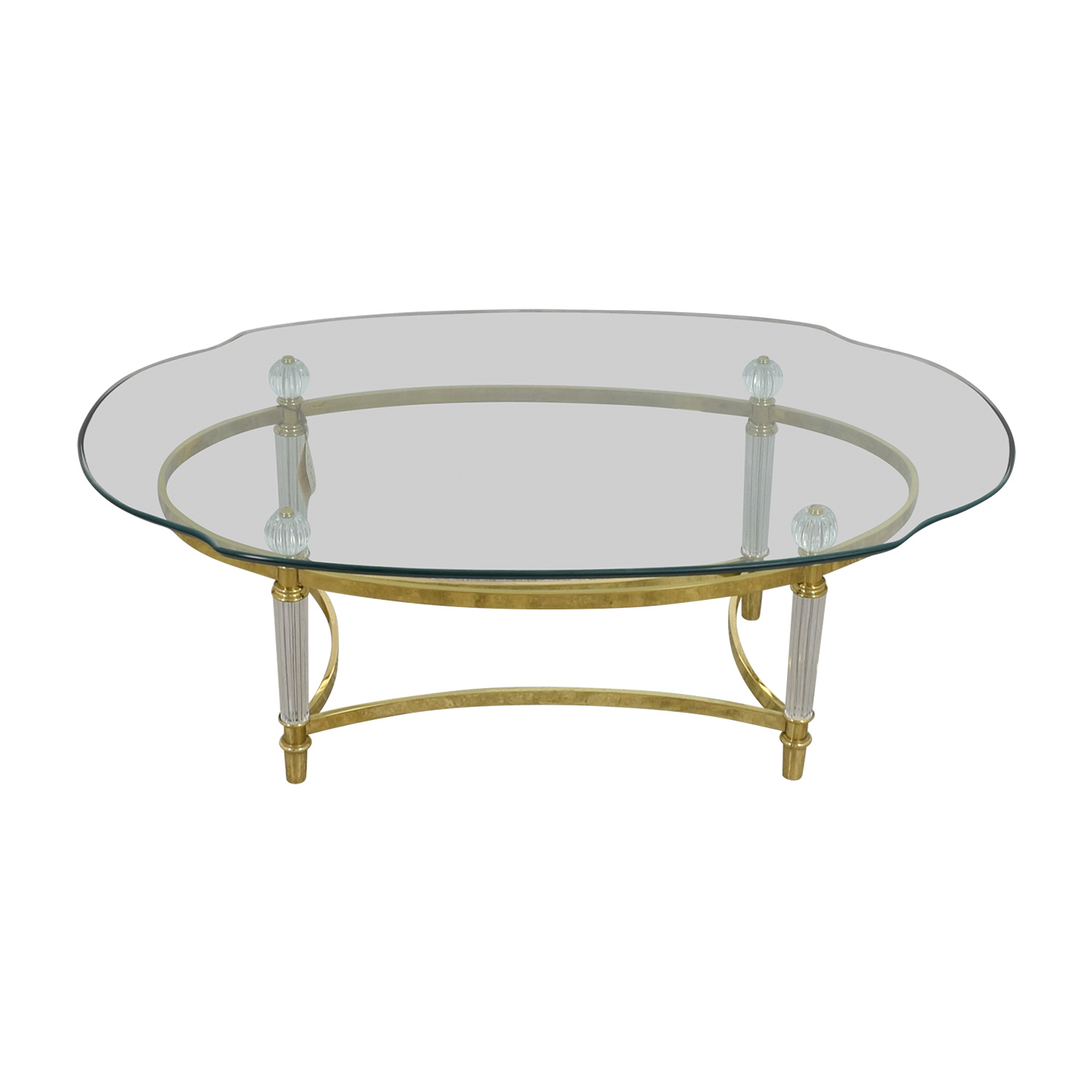 La Barge Brass and Italian Crystal Cocktail Table sale