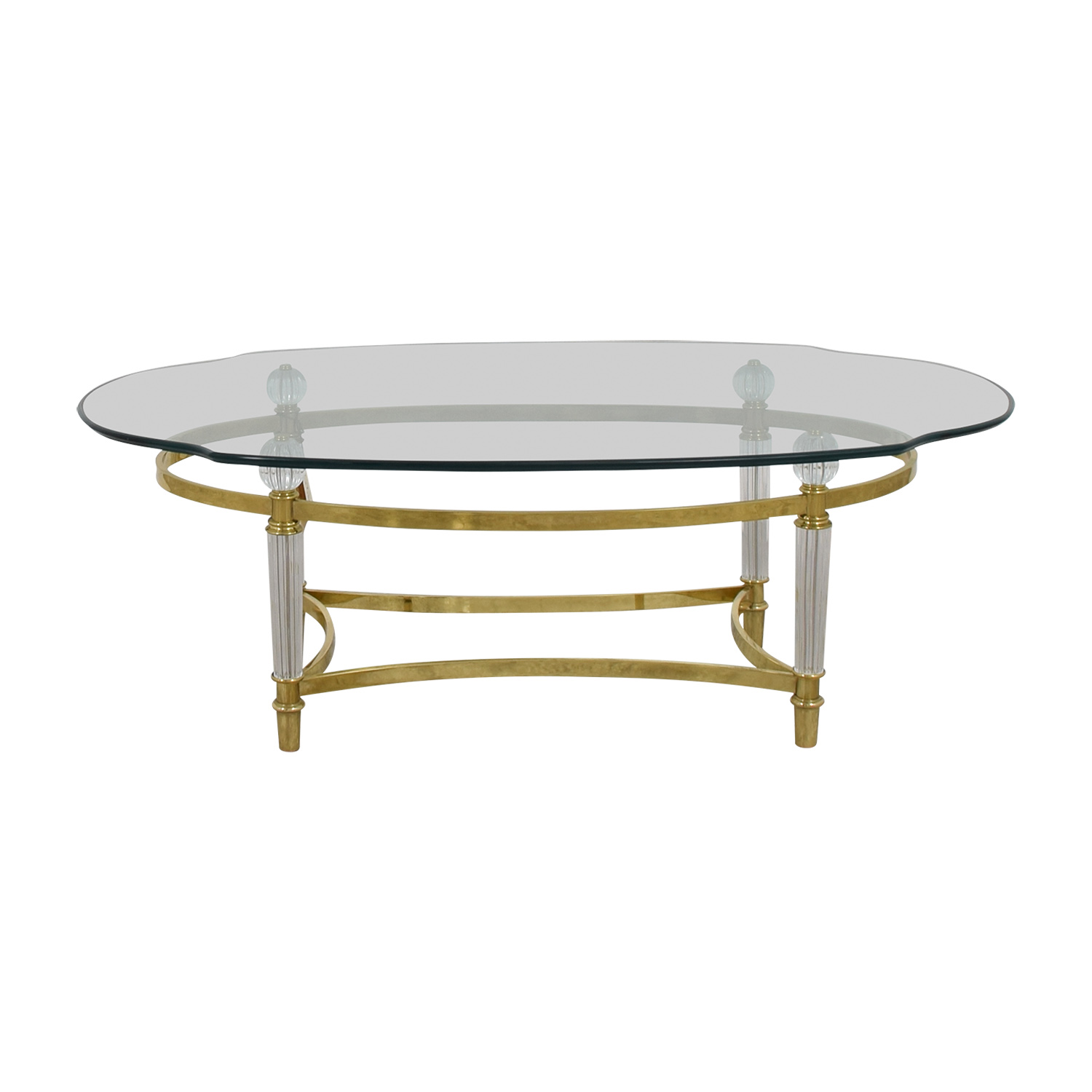 90% OFF - La Barge La Barge Brass and Italian Crystal Cocktail Table /  Tables