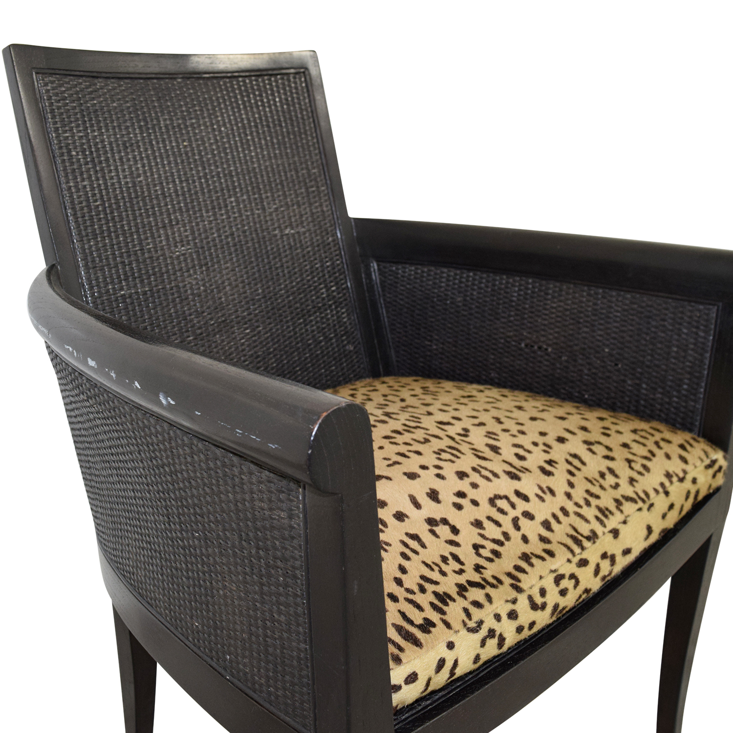 Sutherland Sutherland Cane Armchair with Pony Skin Leopard Cushion nyc