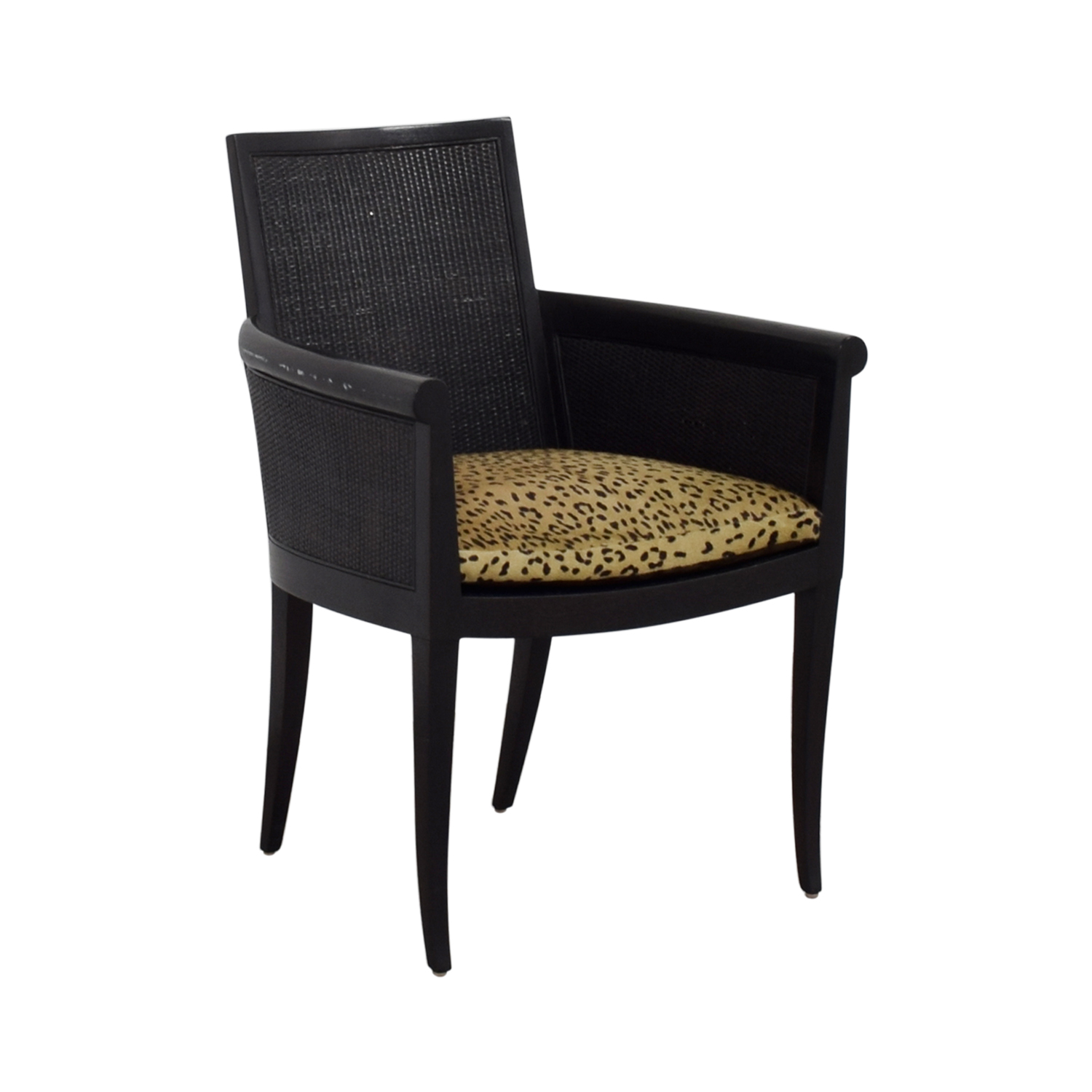 Sutherland Sutherland Cane Armchair with Pony Skin Leopard Cushion LEOPARD