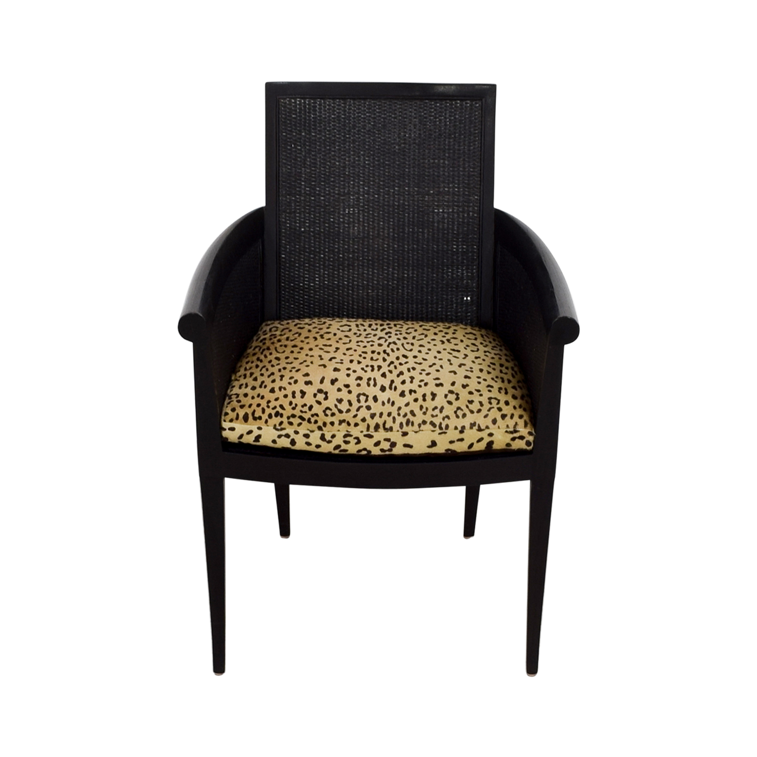 buy Sutherland Cane Armchair with Pony Skin Leopard Cushion Sutherland Chairs