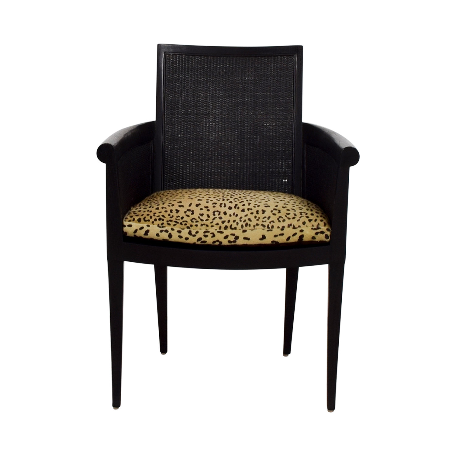 shop Sutherland Cane Armchair with Pony Skin Leopard Cushion Sutherland Chairs