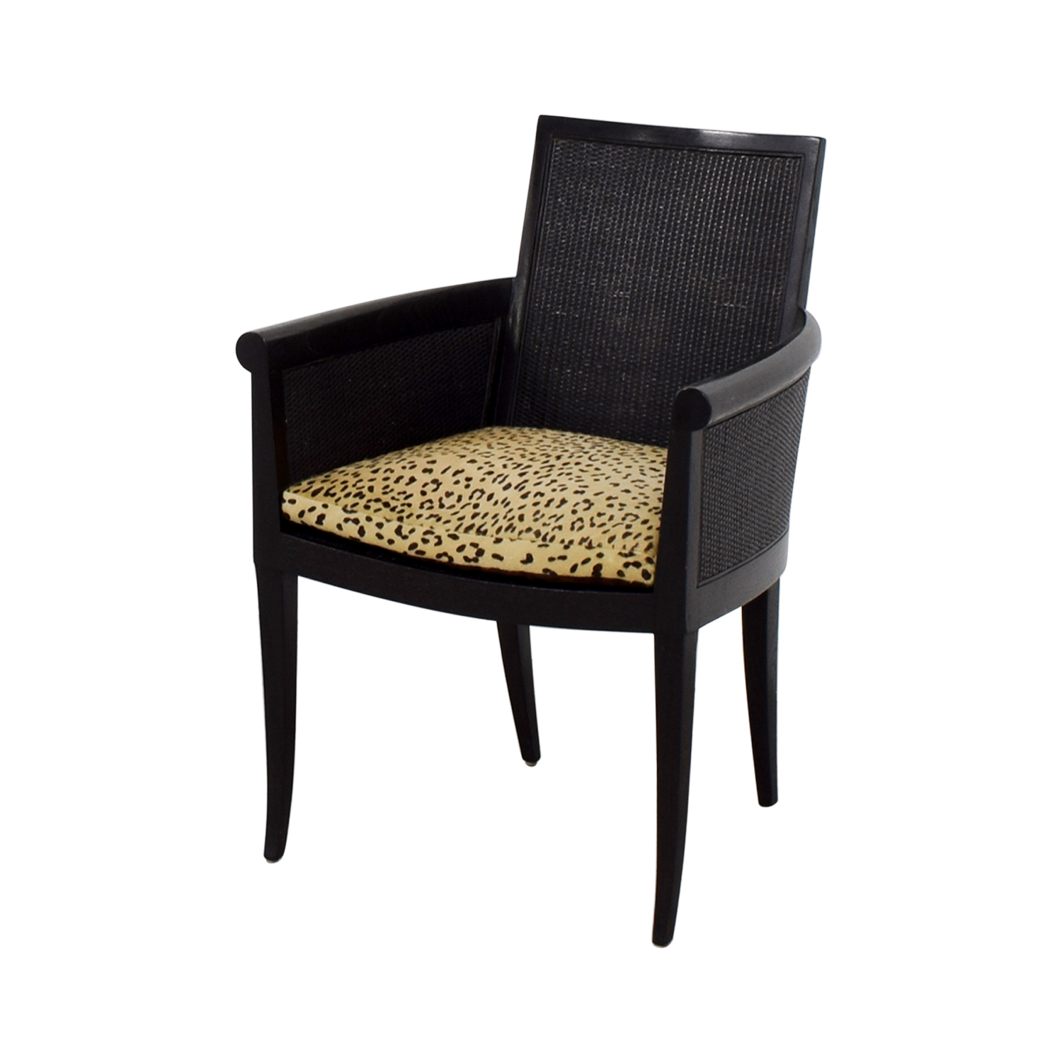 shop Sutherland Cane Armchair with Pony Skin Leopard Cushion Sutherland Accent Chairs