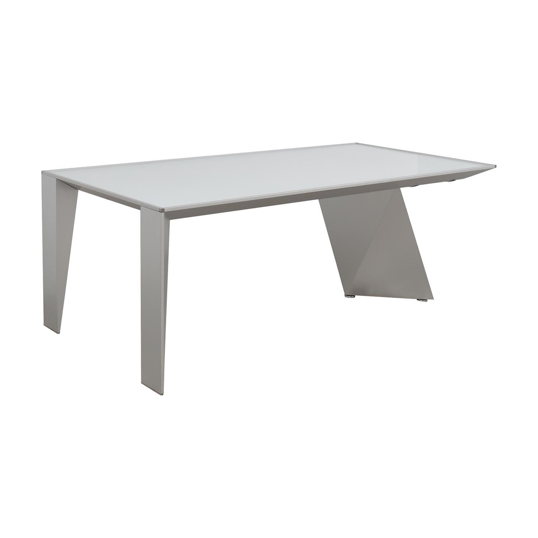 90% OFF - Alea Eracle Alea Eracle White Glass and Metal Frame Desk ...