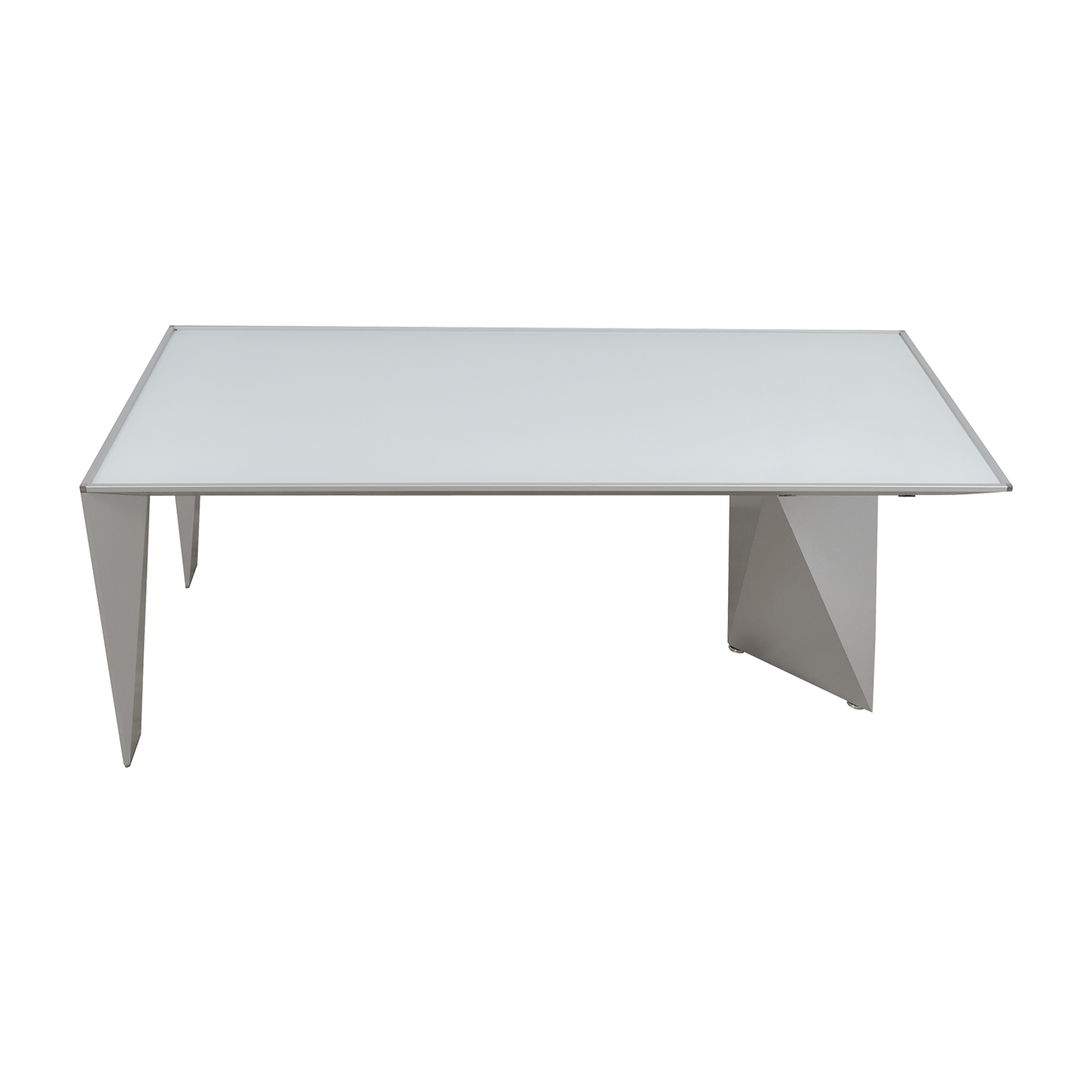 Alea Eracle White Glass and Metal Frame Desk or Table Alea Eracle