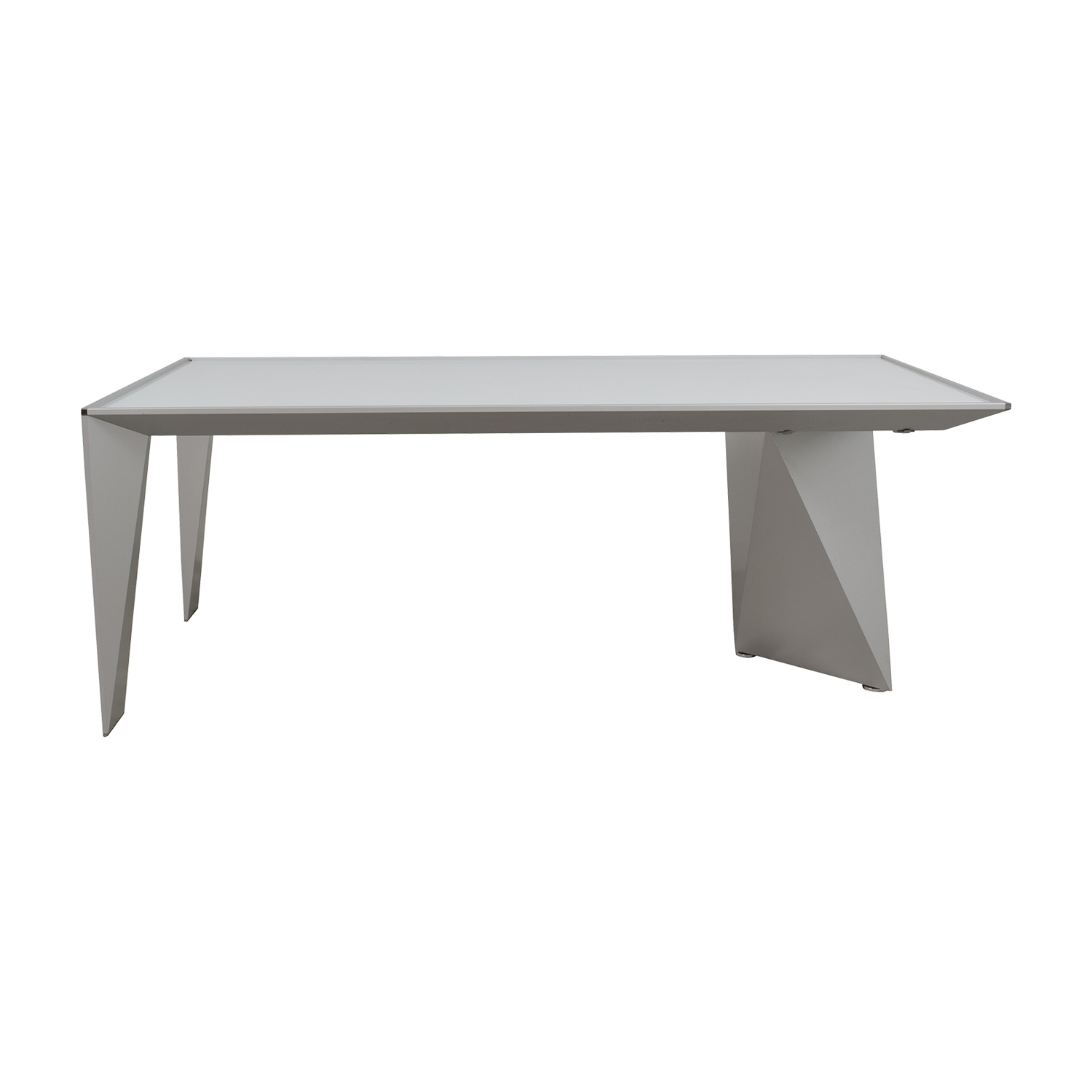 90% OFF - Alea Eracle Alea Eracle White Glass and Metal Frame Desk ...