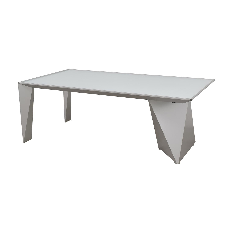 OFF Alea Eracle Alea Eracle White Glass and Metal Frame Desk