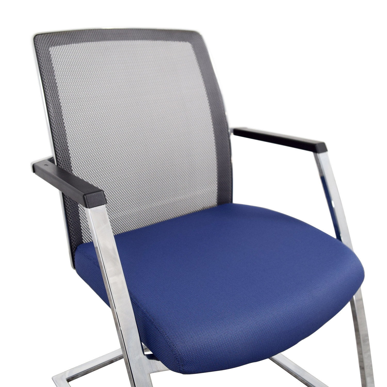 shop Interstuhl X565 Blue and Chrome Chair Interstuhl Chairs