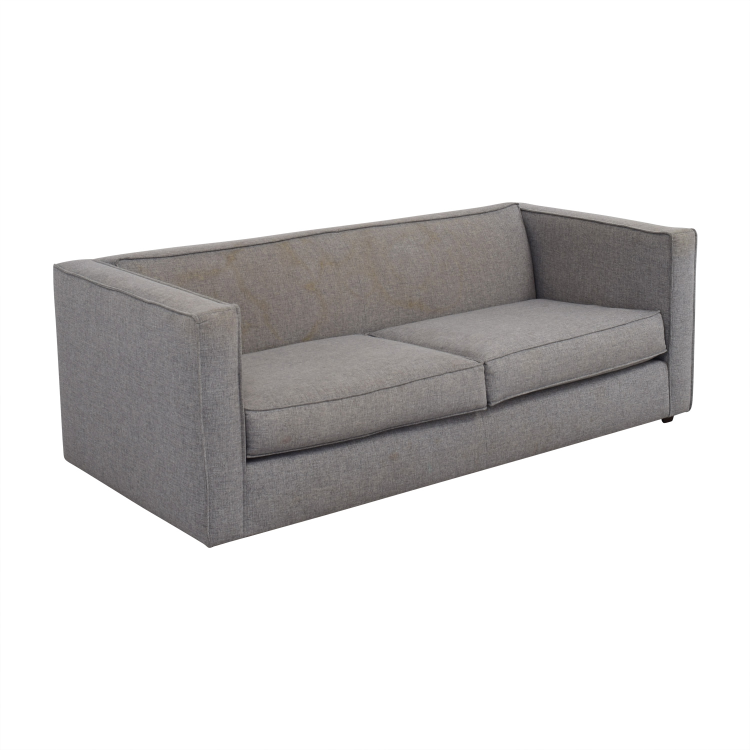 CB2 Club Grey Two-Cushion Sofa sale