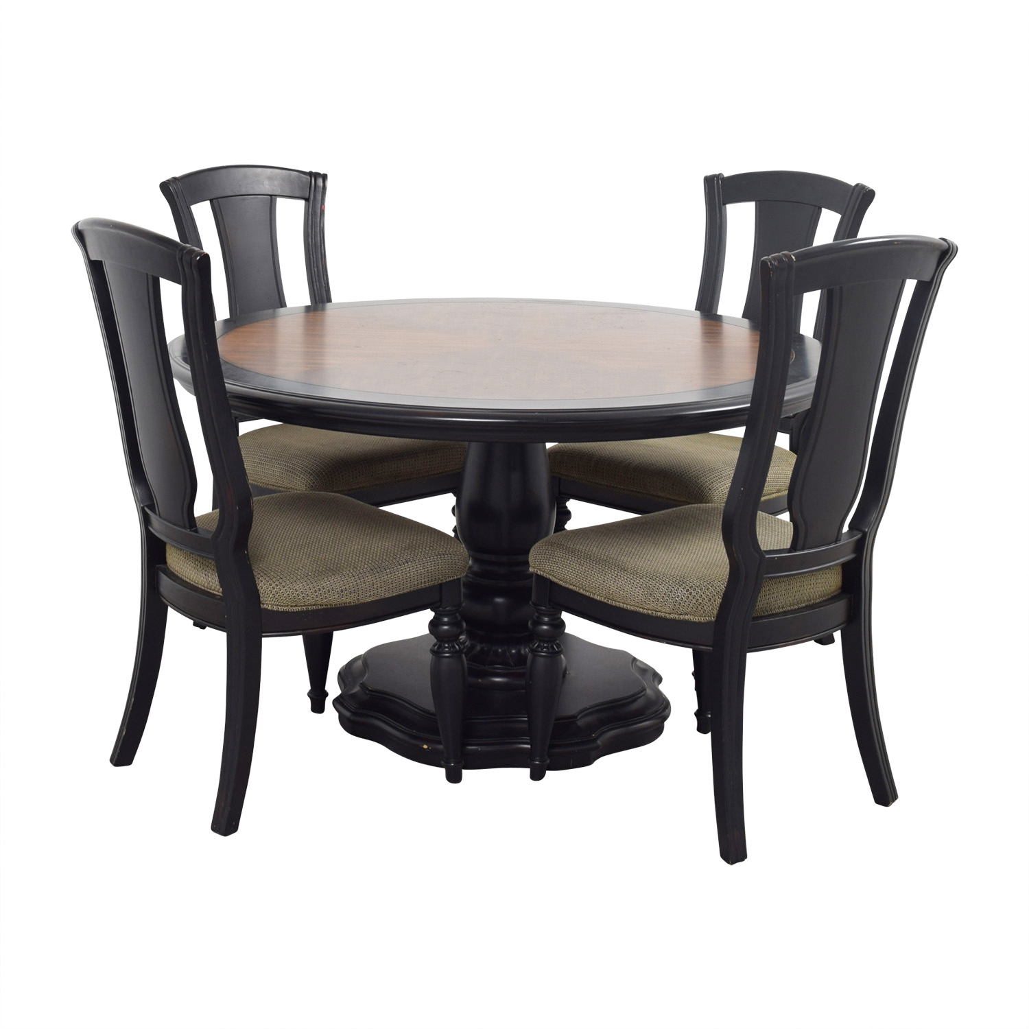 Two Toned Wood Round Dining Set Tables