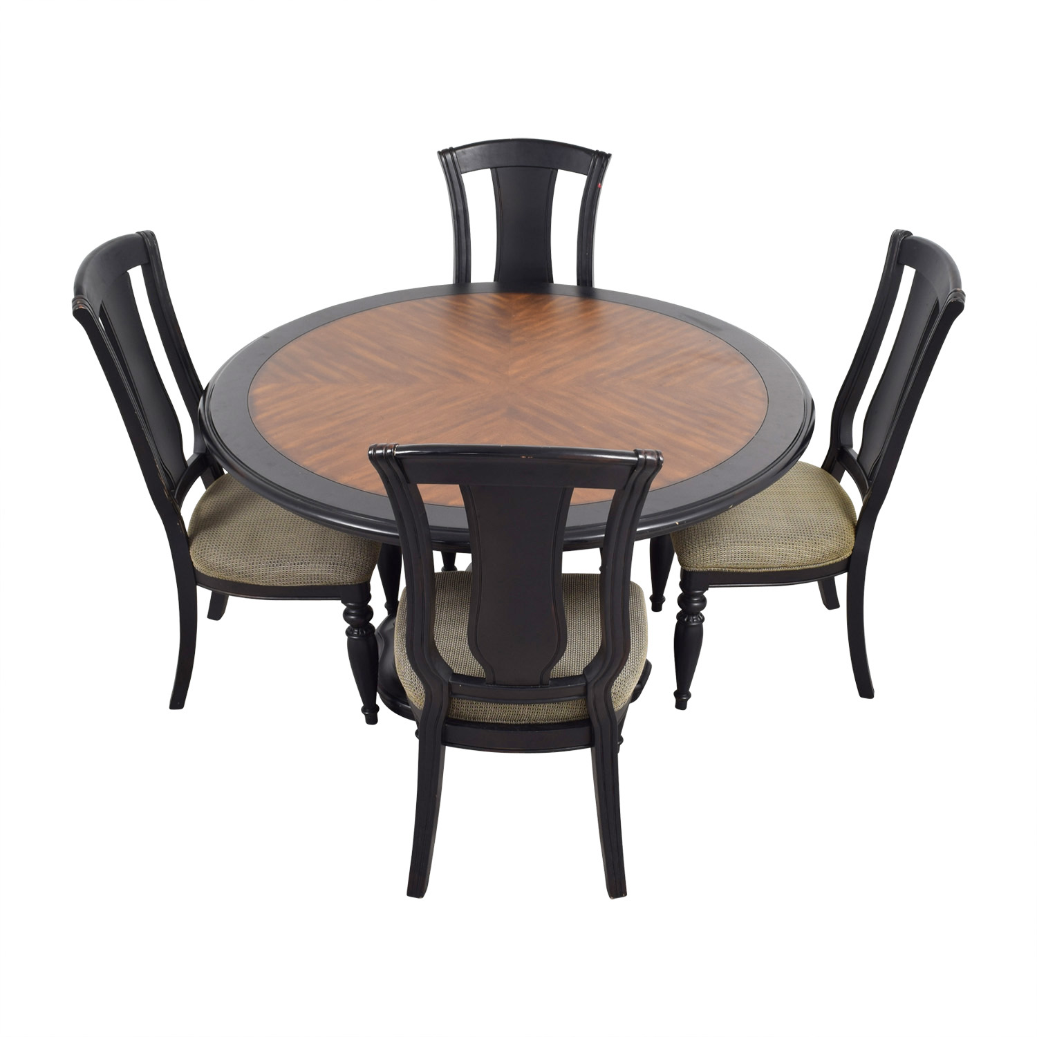 Two Toned Wood Round Dining Set