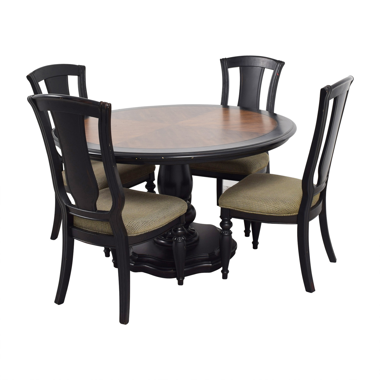 Two Toned Wood Round Dining Set coupon