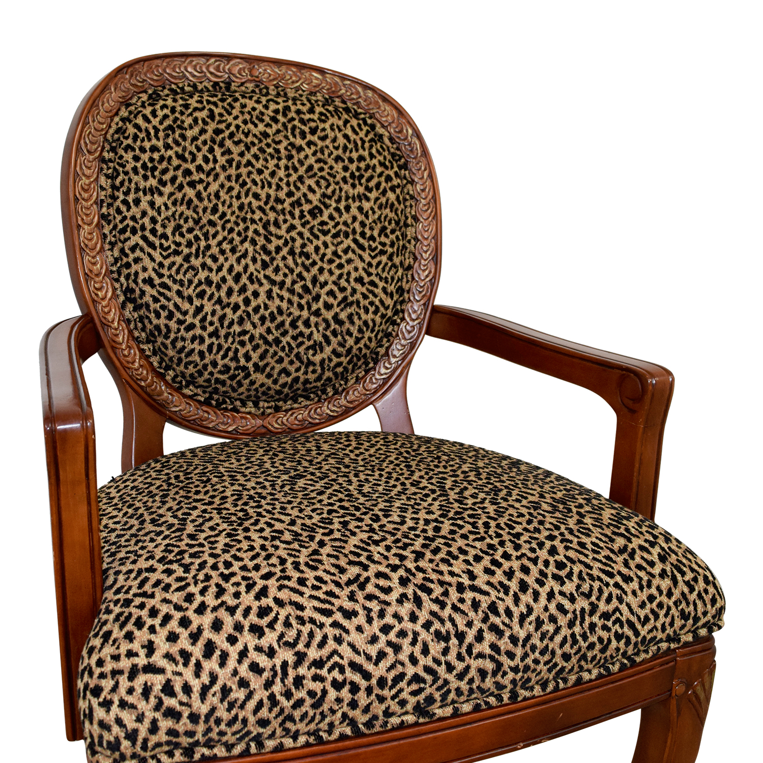 Genial 63% OFF   Leopard Upholstered Wood Arm Chair / Chairs