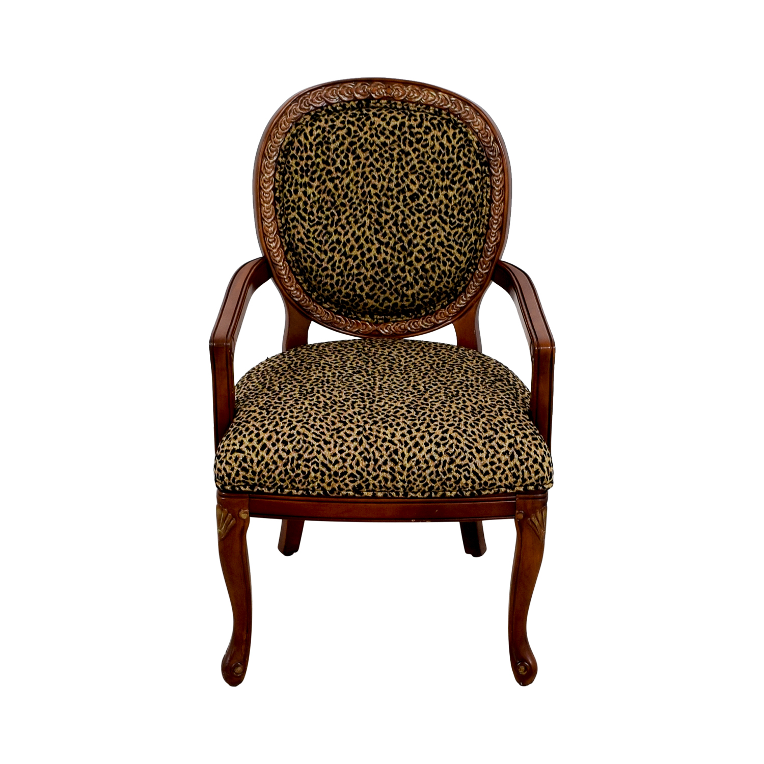 63 Off Leopard Upholstered Wood Arm Chair Chairs