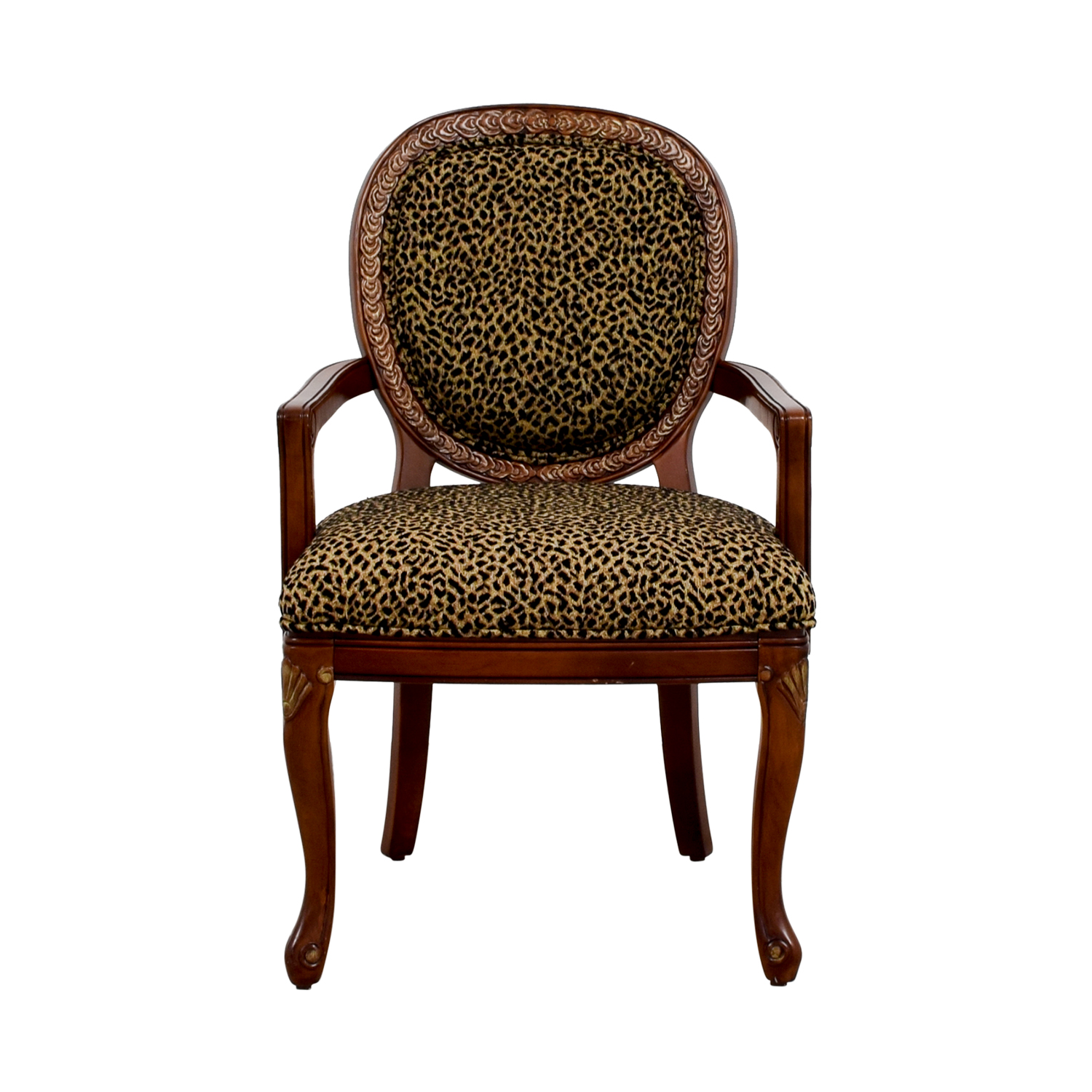 Leopard Upholstered Wood Arm Chair CHEETAH PRINT & BROWN