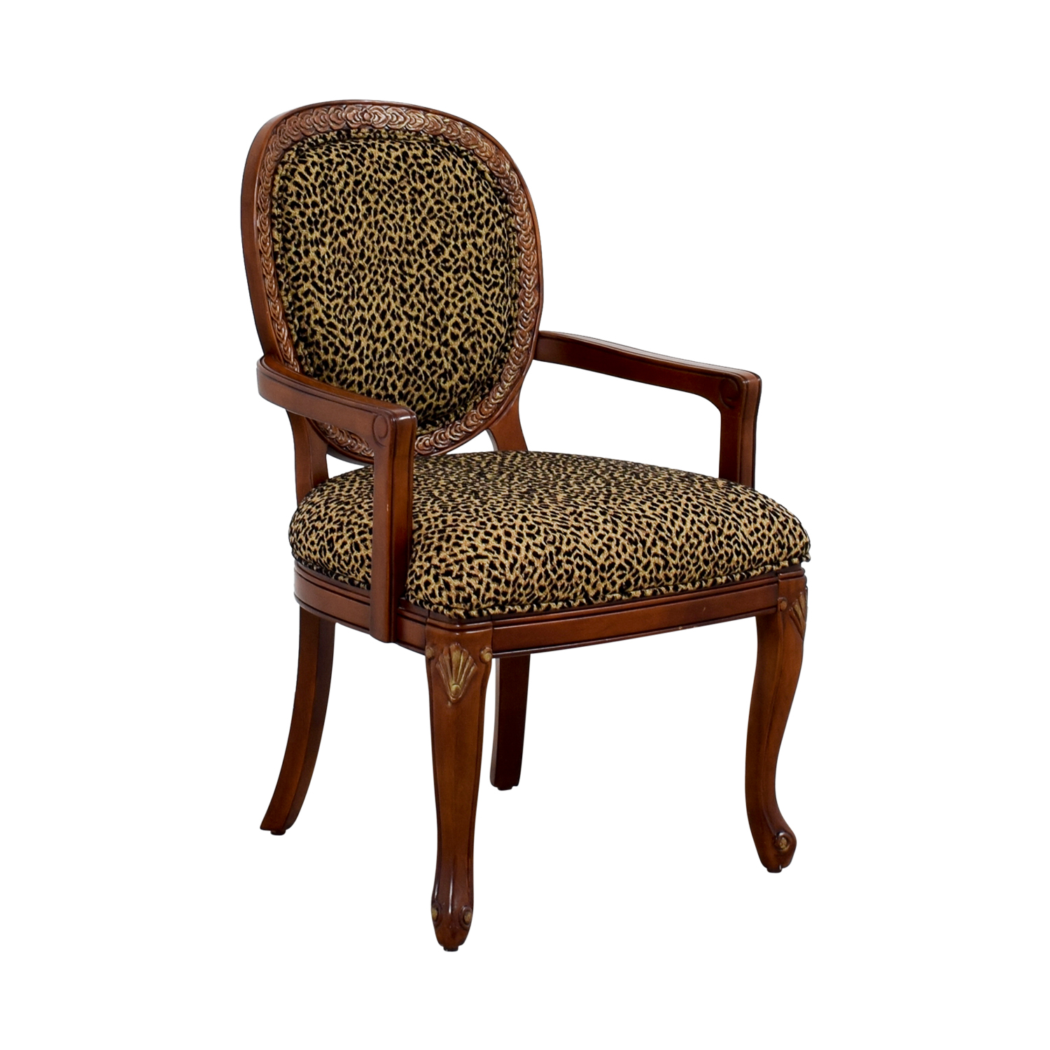 ... Leopard Upholstered Wood Arm Chair / Accent Chairs ...