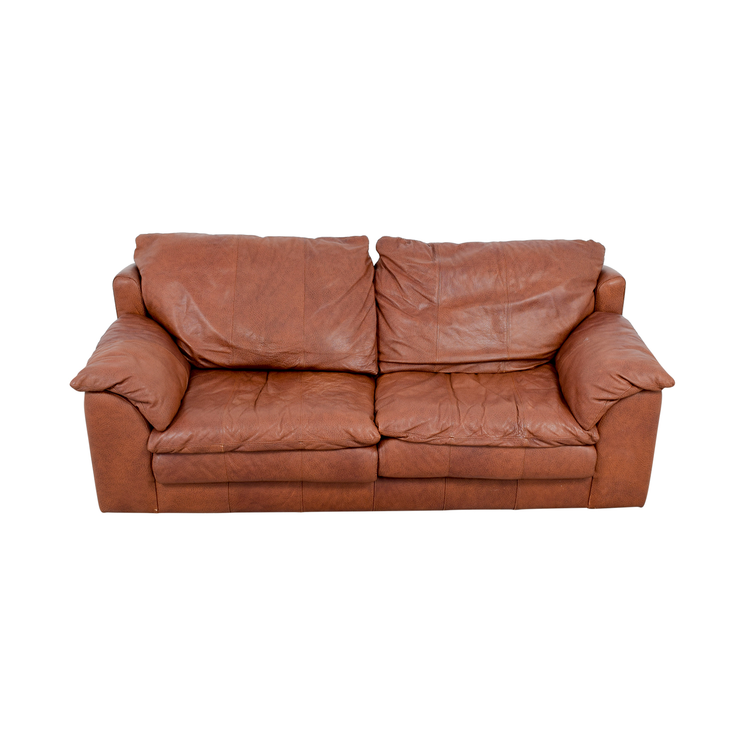 Rust Two-Cushion Leather Couch with Pillowed Arms second hand