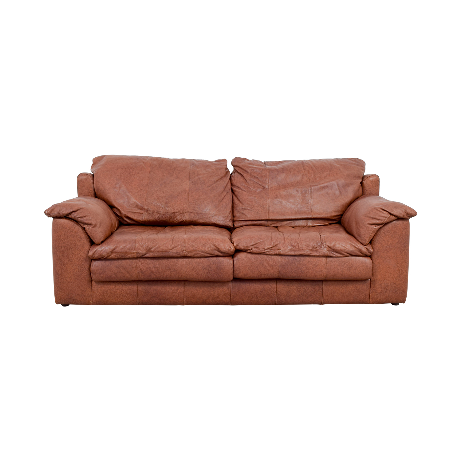 Rust Two-Cushion Leather Couch with Pillowed Arms / Sofas
