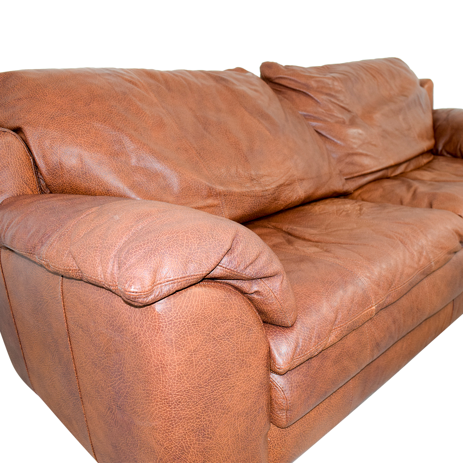 buy Rust Two-Cushion Leather Couch with Pillowed Arms Sofas