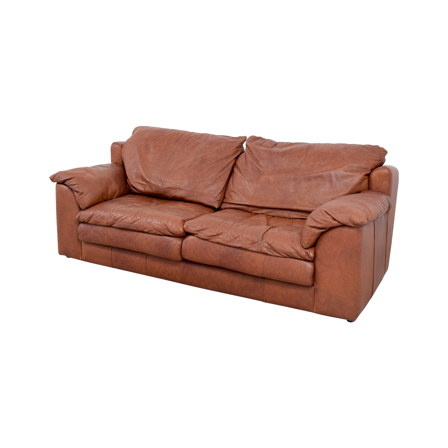 buy Rust Two-Cushion Leather Couch with Pillowed Arms online