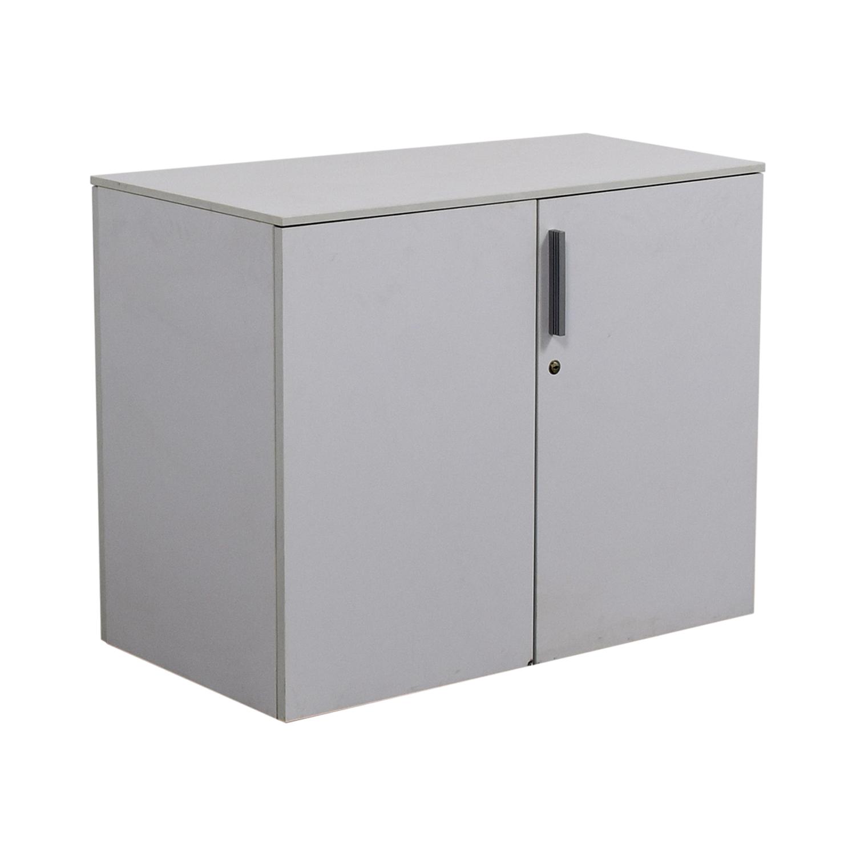 Custom Two-Shelf Wood Cabinet with Lock sale