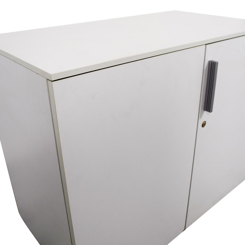 Custom Two-Shelf Wood Cabinet with Lock
