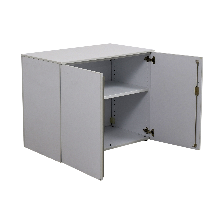 buy Custom Two-Shelf Wood Cabinet with Lock Filing & Bins