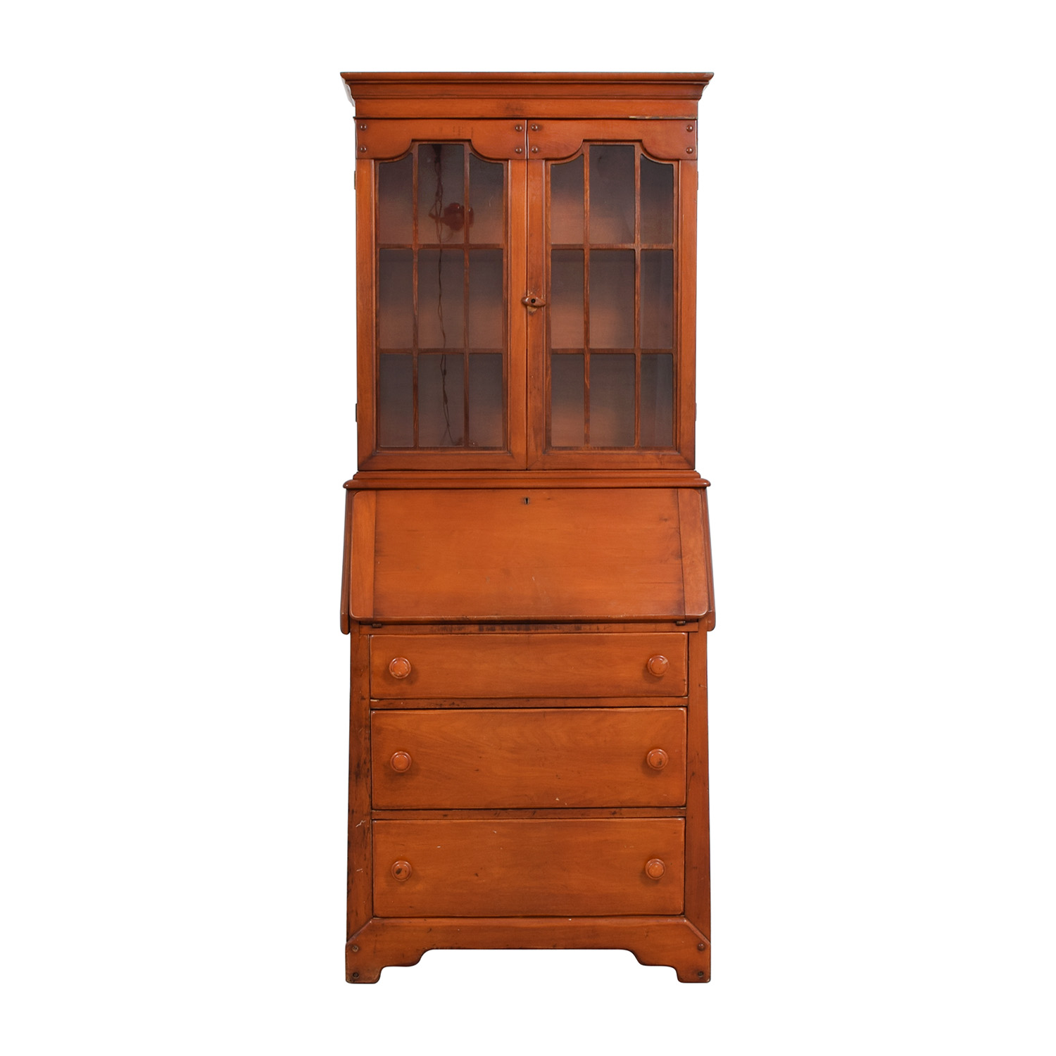 shop Antique Pine Secretary Desk with Pull Out Tray Storage