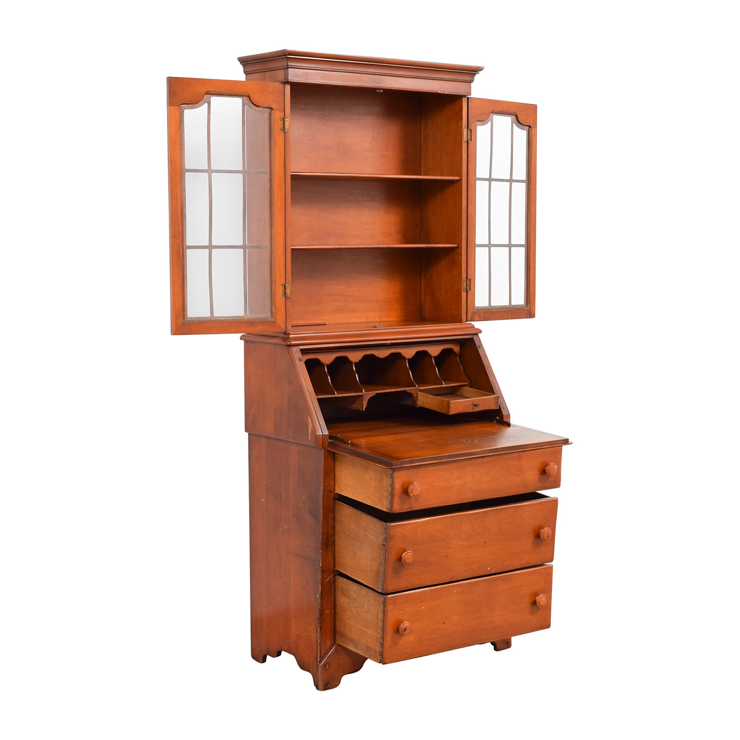 buy Antique Pine Secretary Desk with Pull Out Tray online