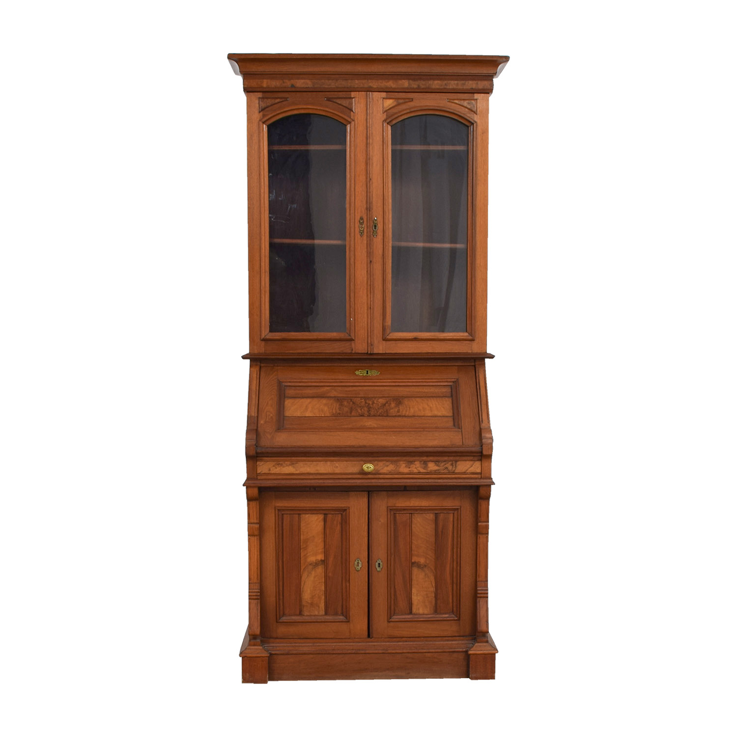 buy Antique Inlaid Pine Secretary Storage