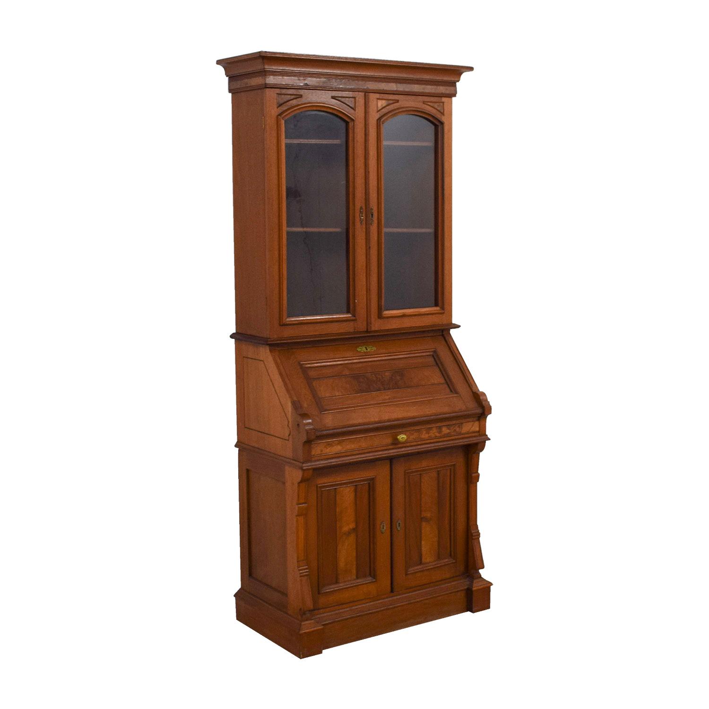 Antique Inlaid Pine Secretary for sale