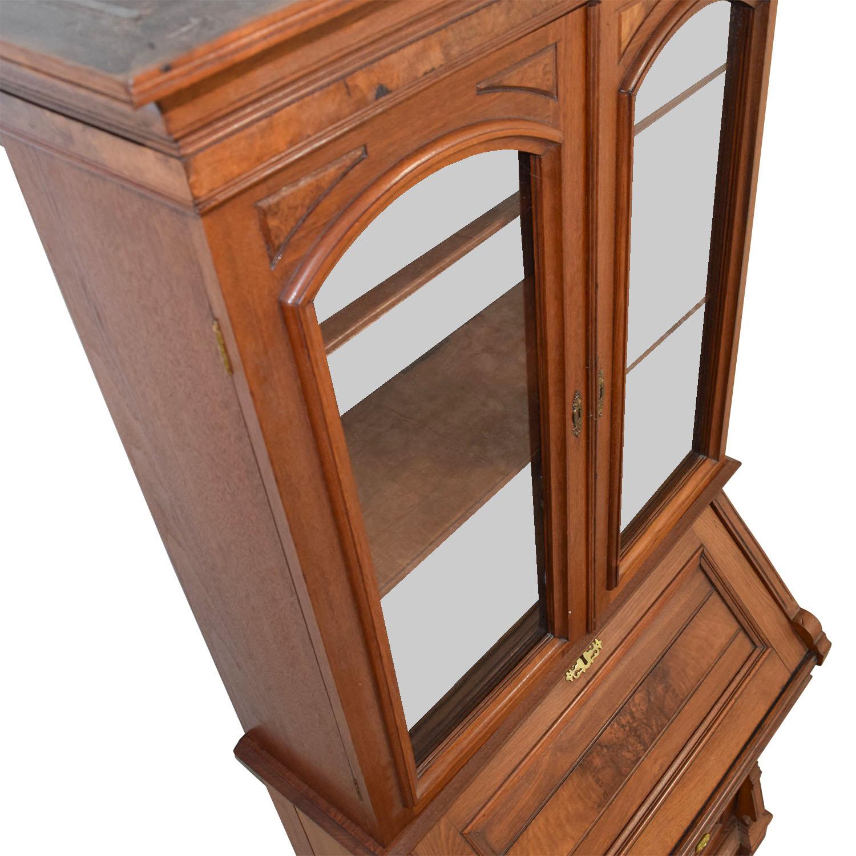 Antique Inlaid Pine Secretary / Bookcases & Shelving