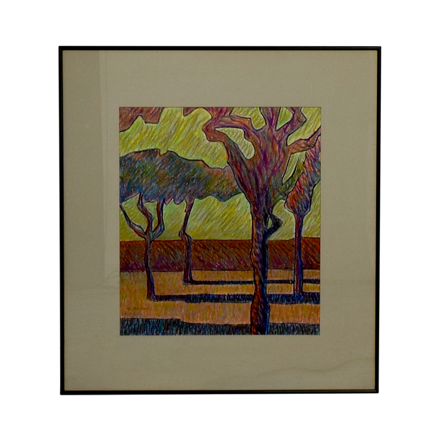Framed Tree Drawing Wall Art used