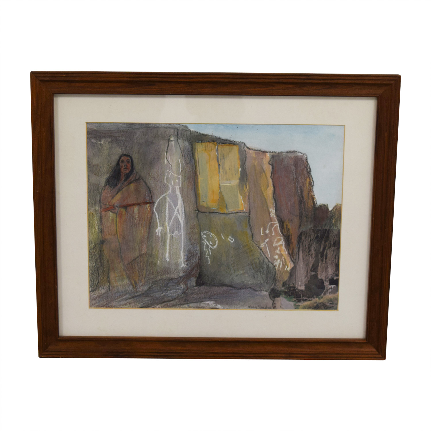 Framed Stone Wall Painting Brown / Off White / Multi