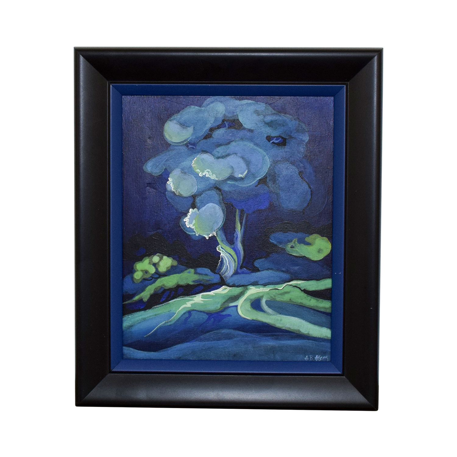 Framed Small Blue Flower Painting Wall Art