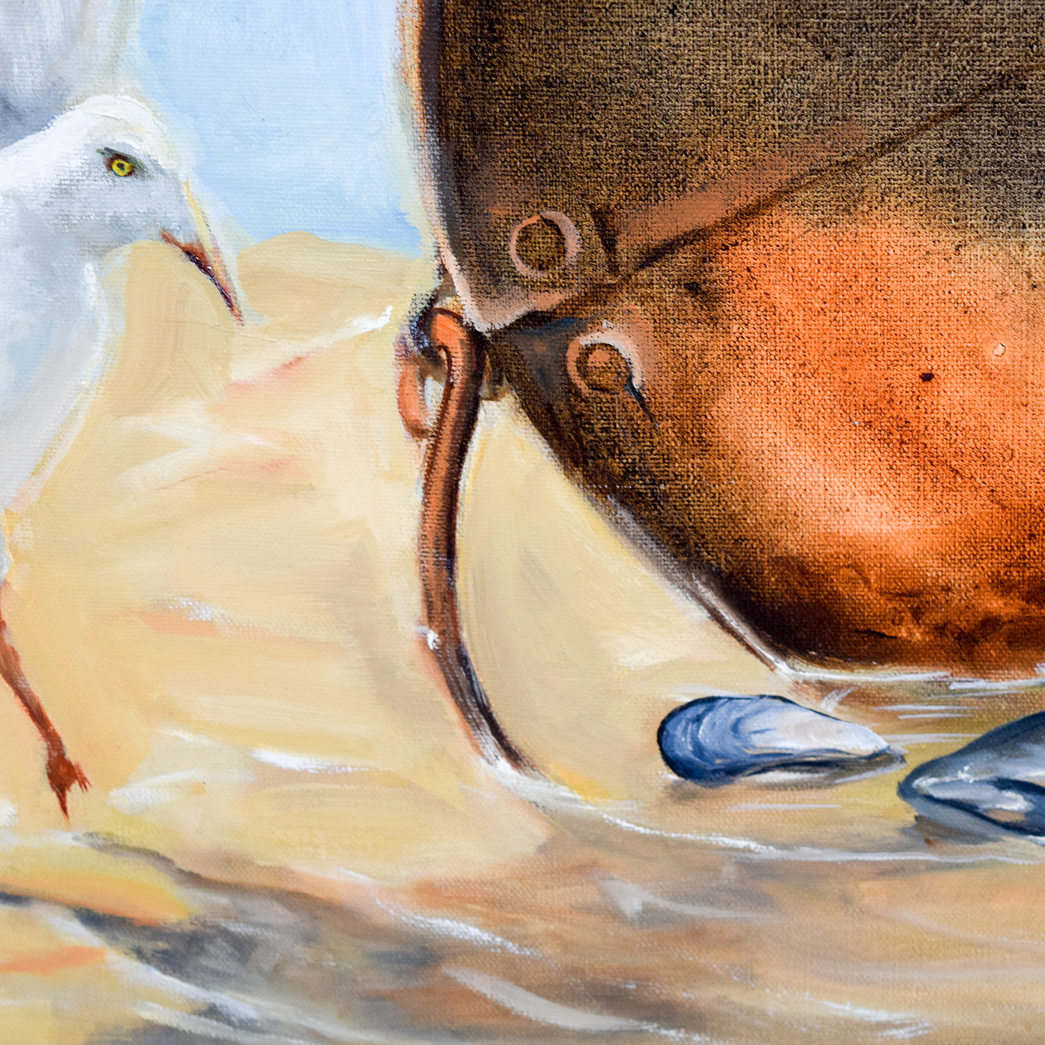 Three Seagulls with Oyster Bucket on Beach Painting coupon
